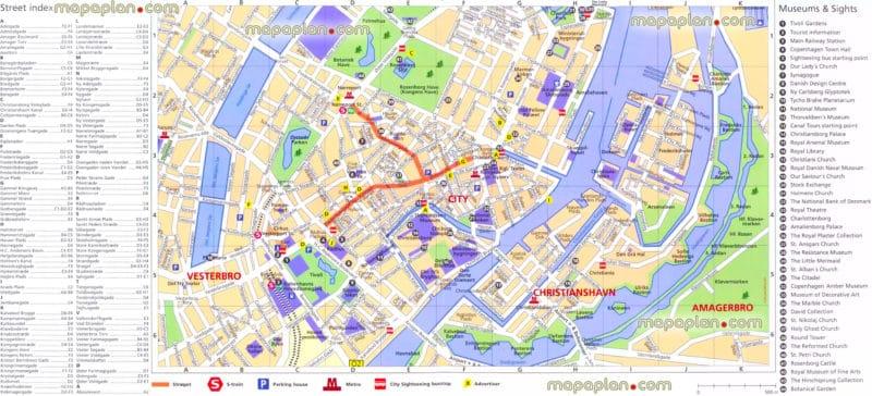 Mappe e percorsi dettagliati di Copenaghen